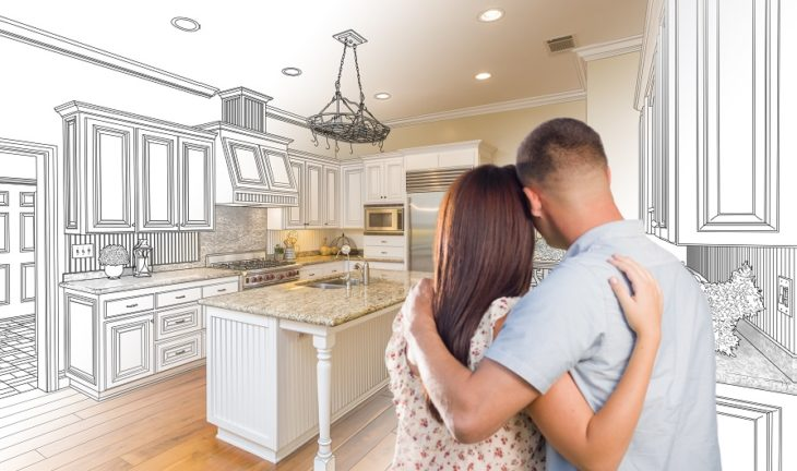man and woman imagining their kitchen remodel