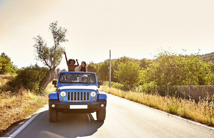 People riding in jeep